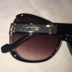 Jessica Simpson Accessories - Jessica Simpson black/gold large sunglasses NWT